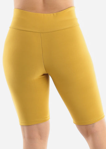 Image of Mustard Criss Cross Detail Shorts