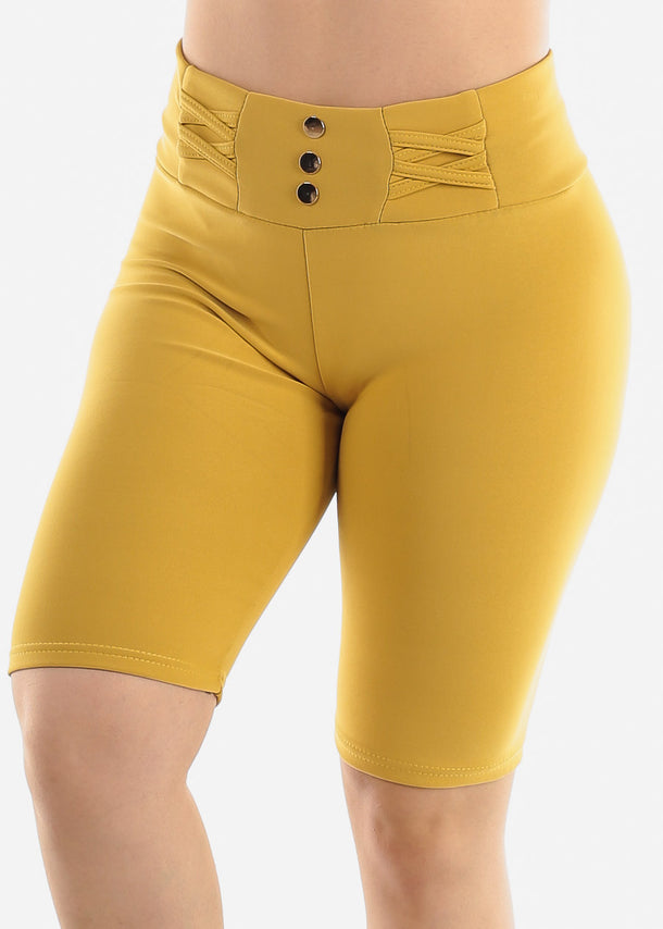 Mustard Criss Cross Detail Shorts