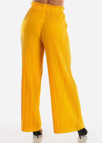 Image of Yellow Pleated Wide Legged Pants