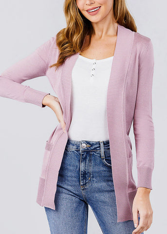Mauve Ribbed Banded Open Sweater Cardigan