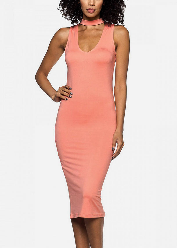 Peach Choker Bodycon Midi Dress