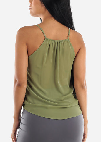 Wrap Front Olive Dressy Top