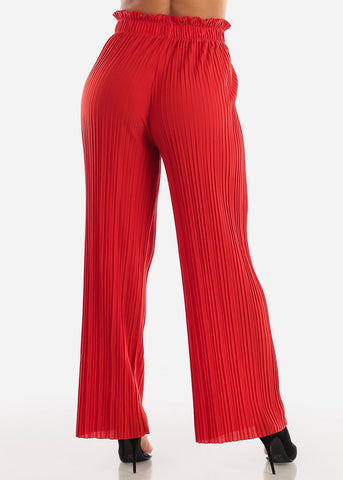 Red Pleated Wide Legged Pants
