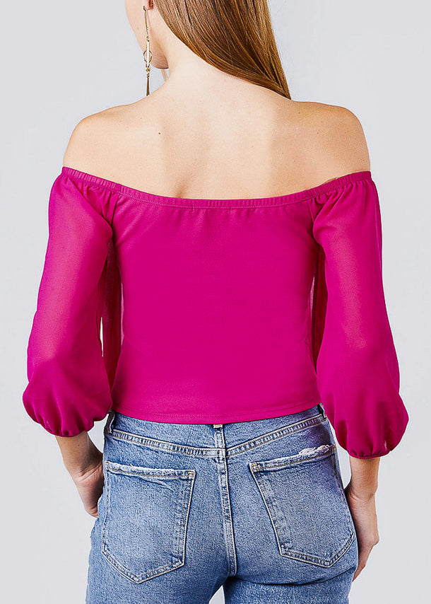 Off Shoulder Shirring Magenta Top