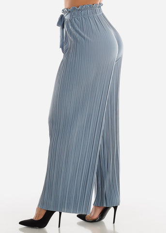 Image of Denim Pleated Wide Legged Pants