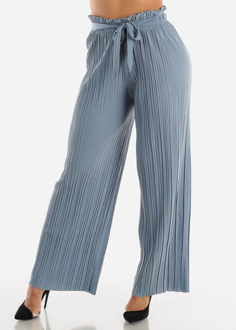 Denim Pleated Wide Legged Pants
