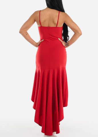 Image of High Low Sleeveless Red Maxi Dress