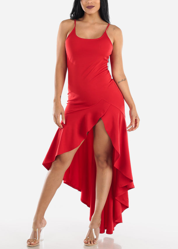 High Low Sleeveless Red Maxi Dress