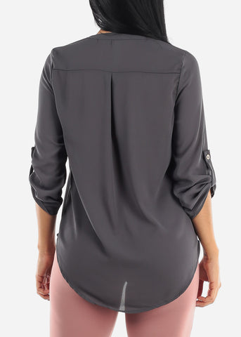 Quarter Sleeve Ash Grey Dressy Blouse