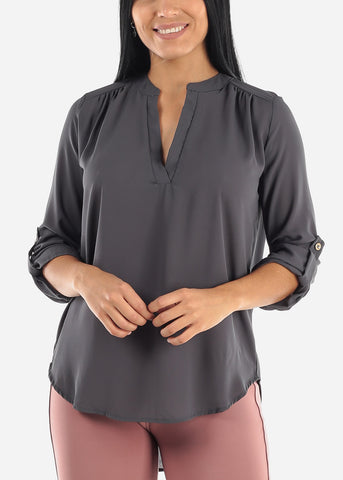 Image of Quarter Sleeve Ash Grey Dressy Blouse