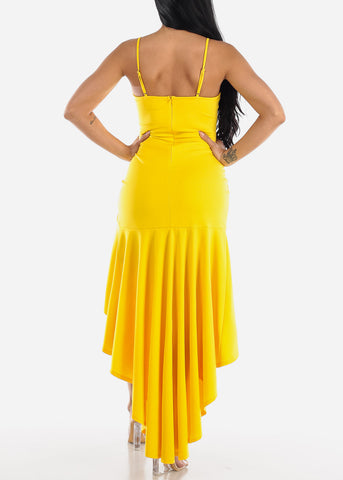 Image of High Low Sleeveless Yellow Maxi Dress