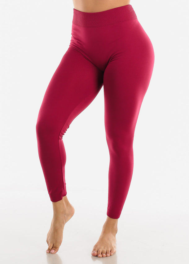 Activewear High Waist Burgundy Leggings