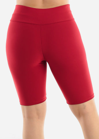 Image of Red Criss Cross Detail Shorts
