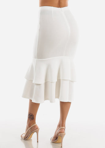 Image of Ruffle Hem White Maxi Skirt