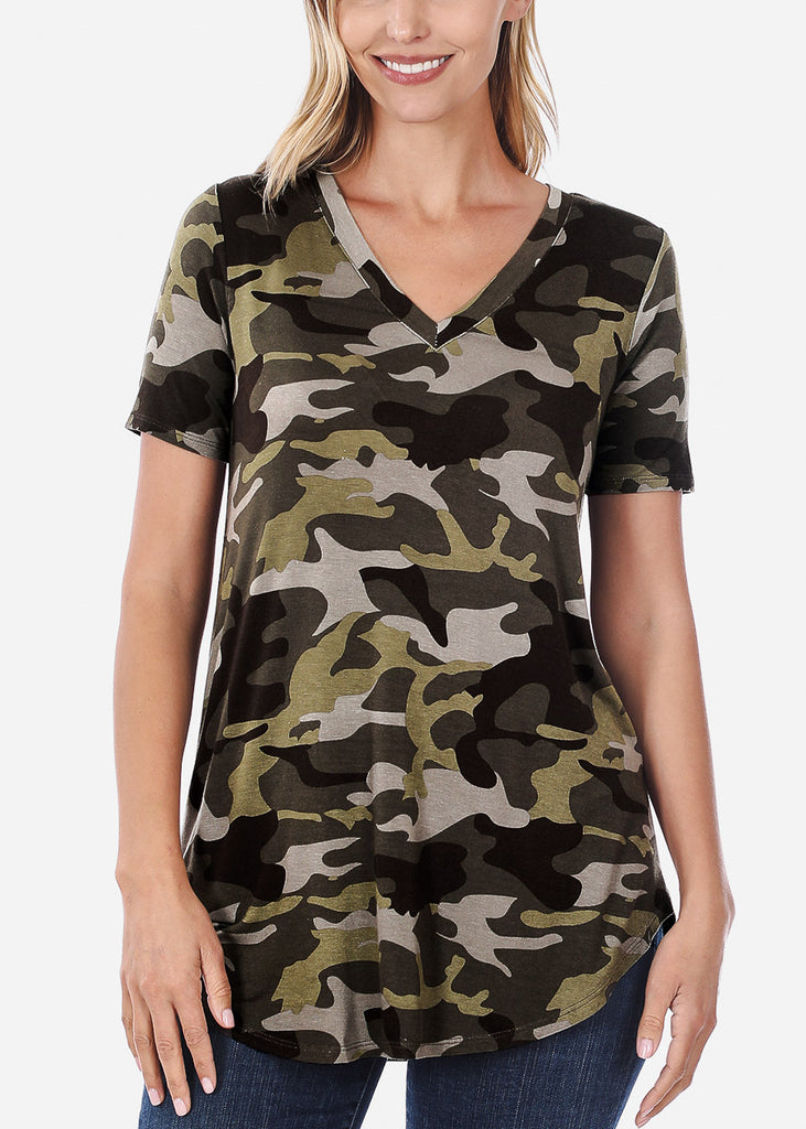 V-Neck Camouflage Print Tunic Top