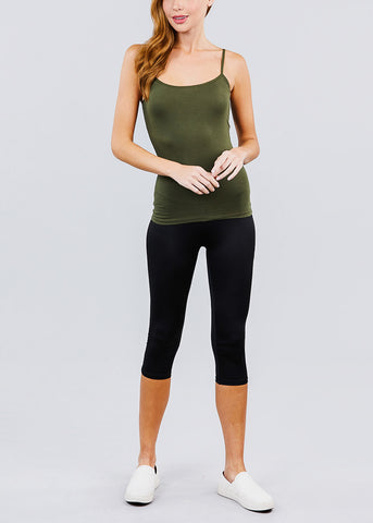Image of Olive Spaghetti Strap Tank Top