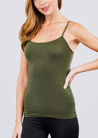 Image of Adjustable Cotton Spaghetti Strap Tank Top (Olive)