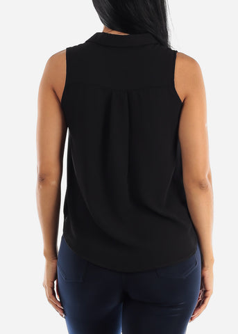 Button Up Black Sleeveless Blouse