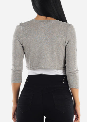 Image of Glittery Casual Grey Bolero