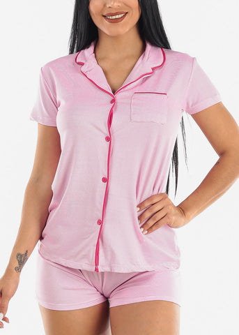 Image of Button Down Pink Shorts PJ Set