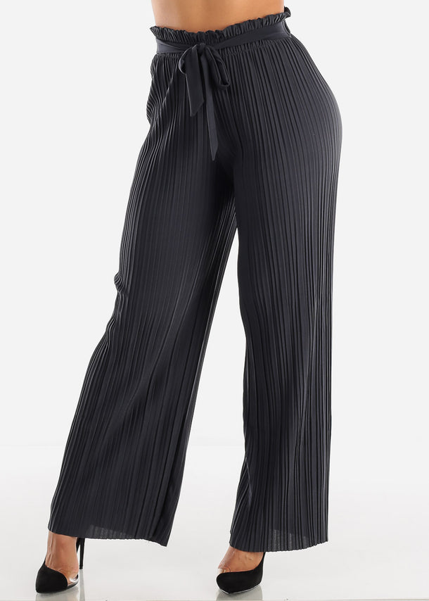 Charcoal Pleated Wide Legged Pants