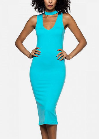 Jade Choker Bodycon Midi Dress