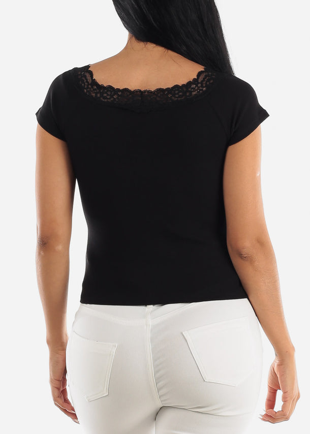 Short Sleeve Lace Inset Black Top
