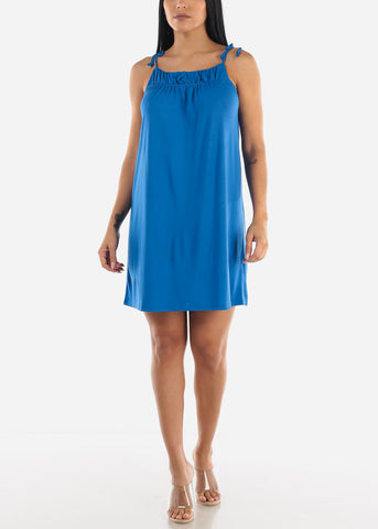Cute Blue Drawstring Halter Dress