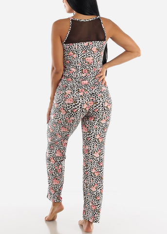 Black Floral Printed Top & Pants (2 PCE PJ SET)