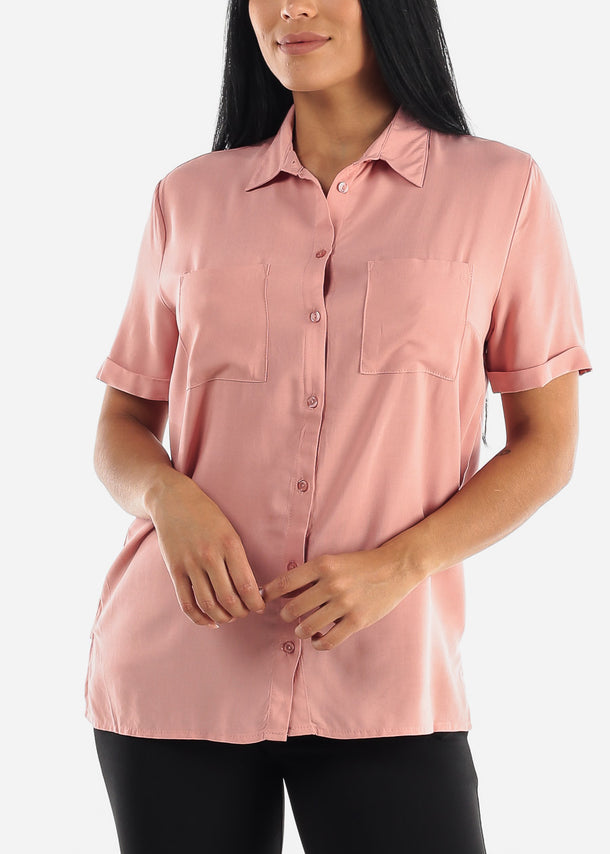 Mauve Button Up Short Sleeve Shirt