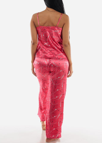 Image of Pink Satin Cami & Pants ( 2 PCE PJ SET)