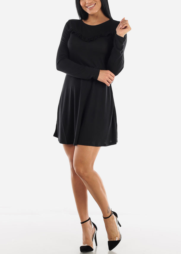 Ruffle Black Loose Mini Dress
