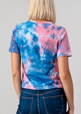 Pink Tie Dye Crew Neck Top