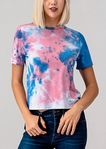 Image of Pink Tie Dye Crew Neck Top