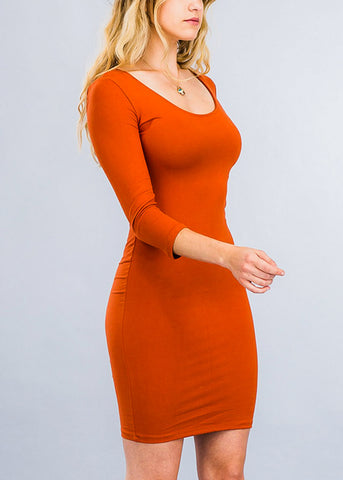Pretty Rust Chic Bodycon Dress
