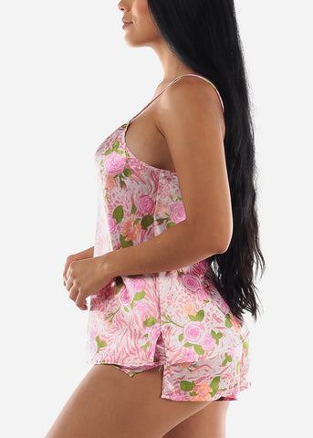 Image of Satin Floral Pink Cami & Shorts (2 PCE PJ SET)