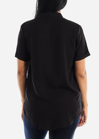 Image of Black Button Up Short Sleeve Shirt