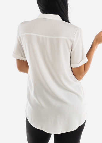 Image of White Button Up Short Sleeve Shirt