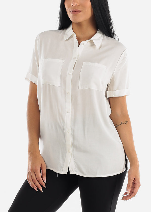 White Button Up Short Sleeve Shirt