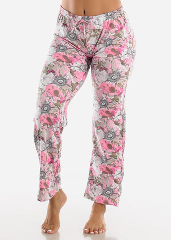 Pink Floral Printed Top & Pants (2 PCE PJ SET)