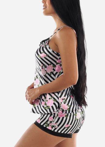 Satin Stripe Floral Cami & Shorts (2 PCE PJ SET)