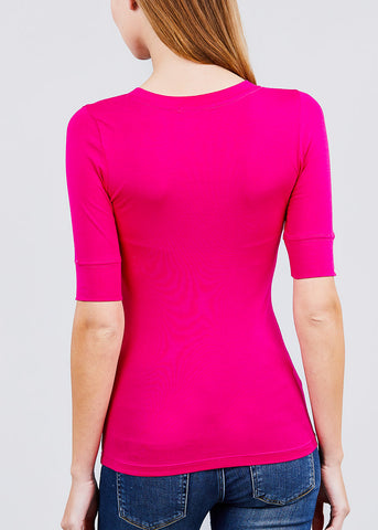 Image of Hot Pink Elbow Sleeve V-Neck Top