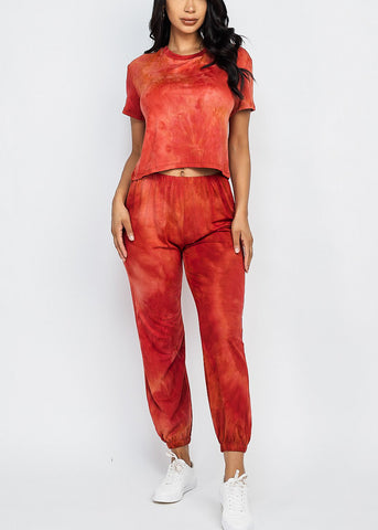 Image of Tie Dye Rust Top & Joggers (2 PCE SET)