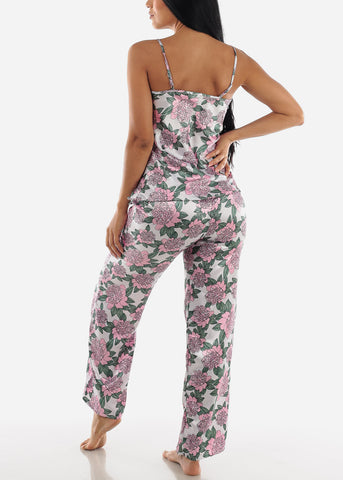 Image of Floral Satin Cami & Pants ( 2 PCE PJ SET)
