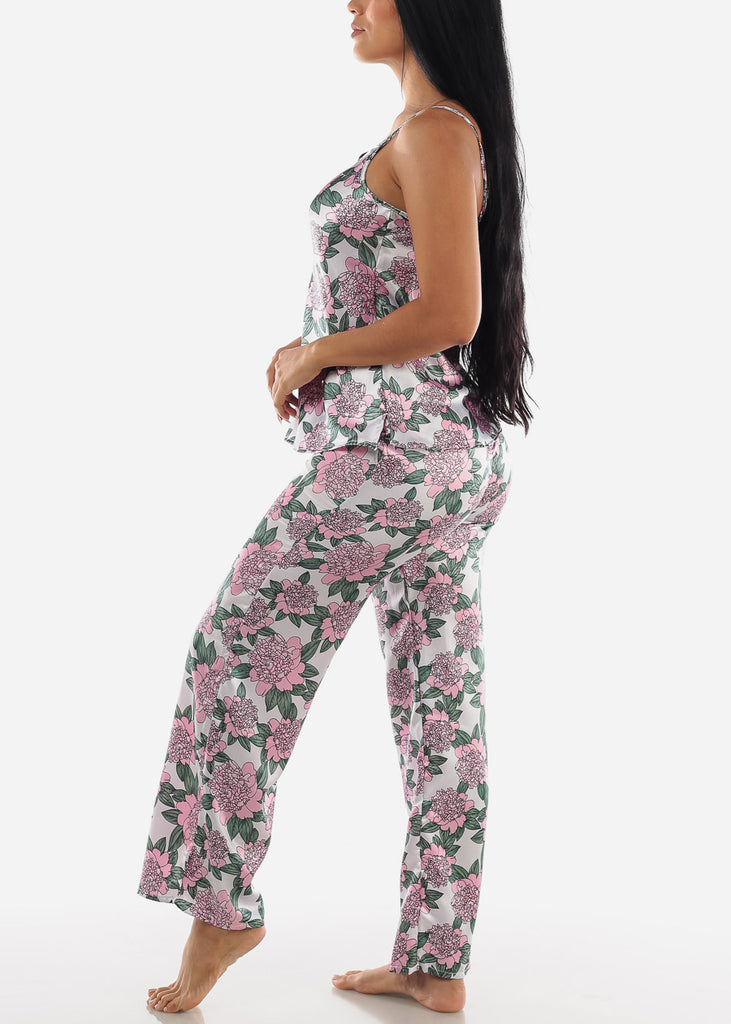 Floral Satin Cami & Pants ( 2 PCE PJ SET)