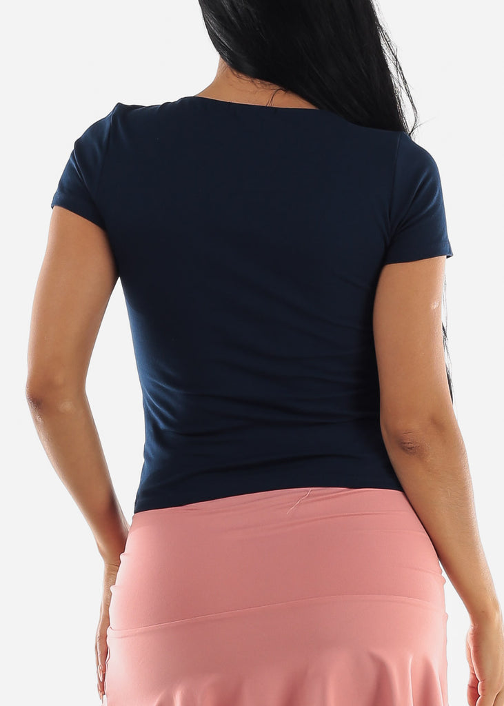 Basic Square Neck Navy Top