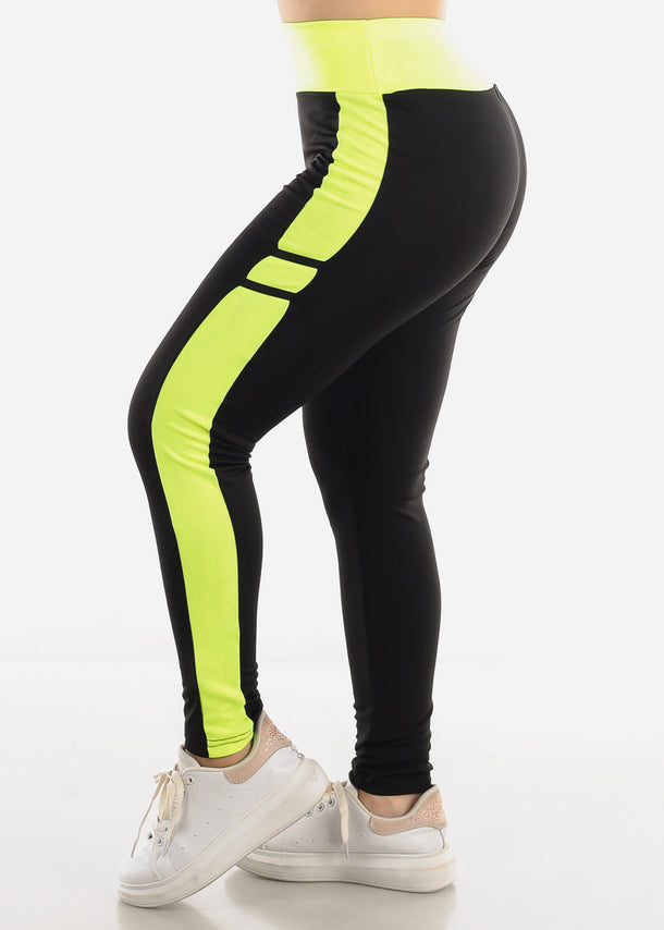 Black & Green High Waist Leggings