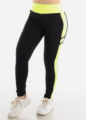 Image of Black & Green High Waist Leggings