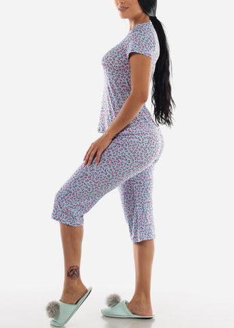 Light Blue Animal Print Top & Capris (2 PCE PJ SET)