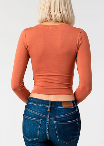Long Sleeve Orange Crop Top